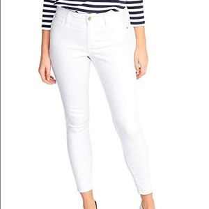 Super skinny white mid rise jeans